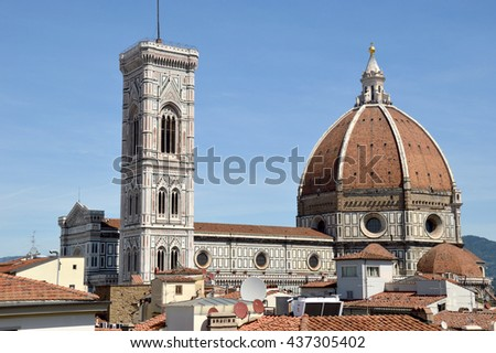 A view of the cathedral of Florence with its famous dome-Italy
