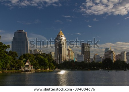 "A view of the city from a ""Lumphini Park"" in Bangkok, Thailand."