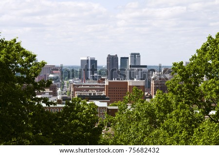 A view of the city of Birmingham Alabama. - stock photo