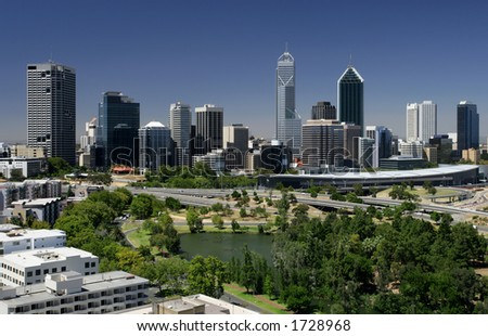 A view of the city of Perth - Western Australia - stock photo