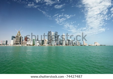 A view of the city skyline in Doha, Qatar, Arabia, in February 2011 - stock photo