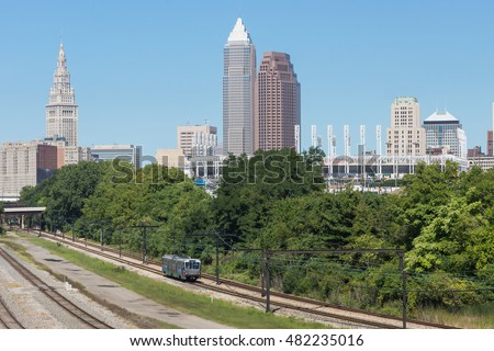A view of the Cleveland skyline featuring the tallest buildings in downtown as seen from slightly southeast of the city center.