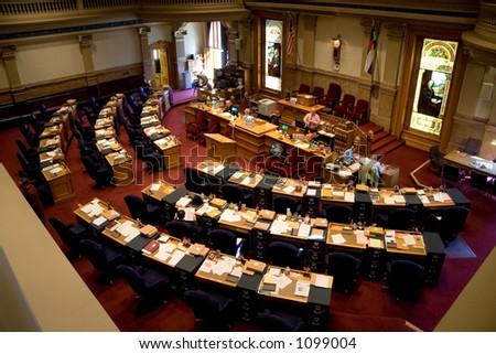 A view of the Colorado Senate chambers. - stock photo