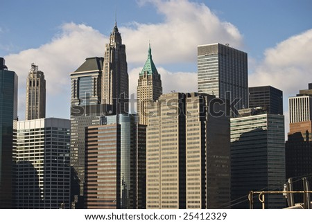 A view of the diverse style of New York City architecture.