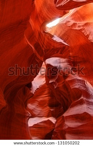 A view of the dramatic light and shapes of Antelope Canyon