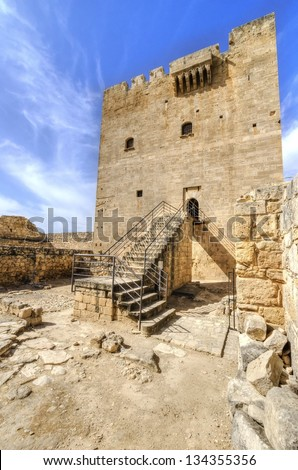 A view of the entrance of the medieval castle of Kolossi. It is situated in the south of Cyprus, in Limassol. The castle dates back to the crusades and it constitutes a landmark of the area.
