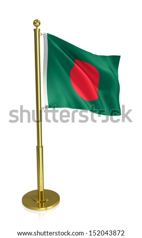 A view of the flag of Bangladesh isolated on white with clipping path. - stock photo