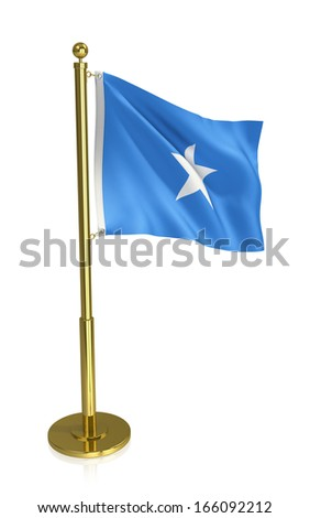 A view of the flag of Somalia isolated on white with clipping path.
