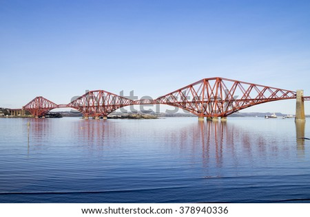 A view of the Forth Rail Bridge, which runs between South Queensferry (near Edinburgh) and Fife, Scotland - stock photo