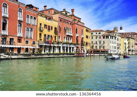 a view of The Grand Canal in Venice, Italy - stock photo