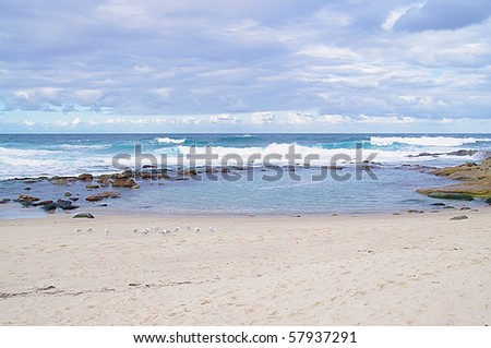 A view of the huge surf around famous Bondi, Bronte and Tamarama beach, Australia - stock photo