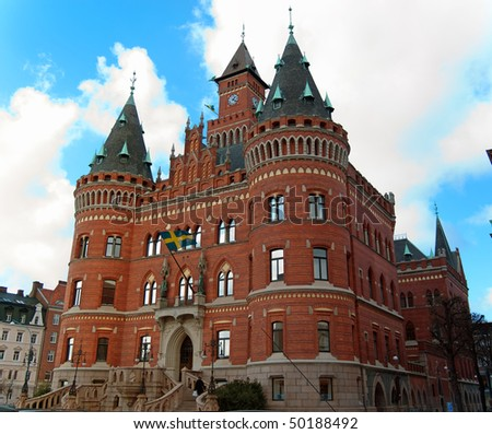 A view of the impressive town hall in Helsingborg. - stock photo