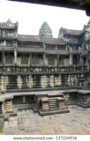 A view of the inner stone courtyard at Angkor Wat in Siem Reap, Cambodia - stock photo
