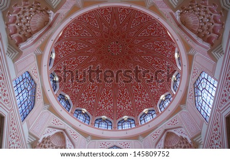 A view of the interior of the Putra mosque situated in the Malaysian city of Putrajaya - stock photo