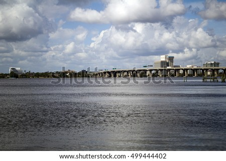 A view of the Interstate 95 bridge over the St. Johns River, from Jacksonville, Florida to Riverside