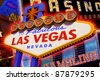 A view of the Las Vegas sign and strip background - stock photo