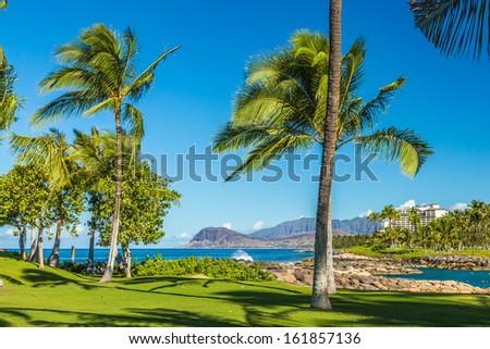 A view of the leeward coast from Nai'a Lagoon on west Oahu, Hawaii - stock photo