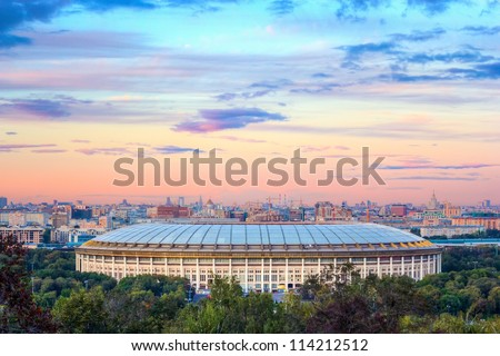 A view of the Luzhniki Stadium from Sparrow Hills at sunset. Moscow - stock photo