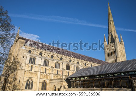 A view of the magnificent Norwich Cathedral in the historic city of Norwich, UK.