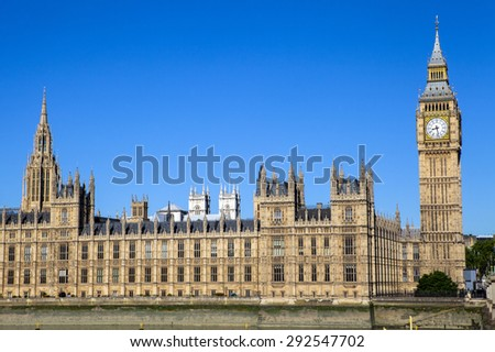A view of the magnificent Palace of Westminster in London.  The towers of Westminster Abbey can be seen in the distance.