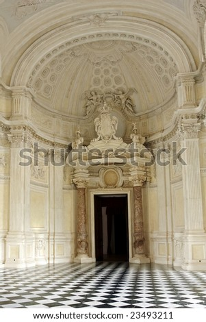 A view of the main gallery in the royal hunting lodge at Venaria Reale, Turin, Italy - stock photo