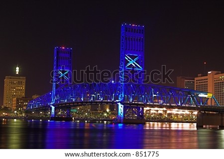 A view of the Main  Street bridge in downtown Jacksonville, Florida. - stock photo
