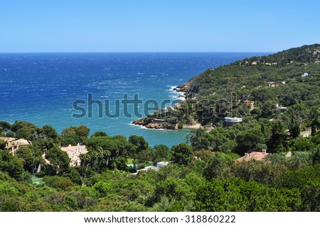 a view of the Mediterranean sea and the coast of Begur, in the Costa Brava, Catalonia, Spain - stock photo
