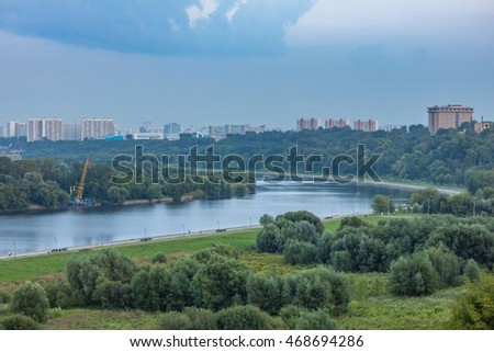A view of the Moscow river and Park Kolomenskoye before the storm