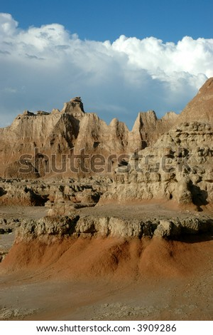 A view of the painted landscape in Badlands National Park, located in South Dakota.