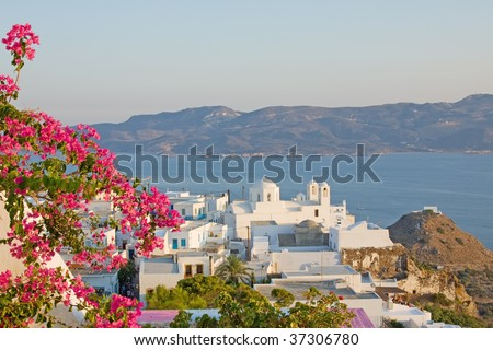 A view of the Plaka town from its castle region in Milos island, Greece