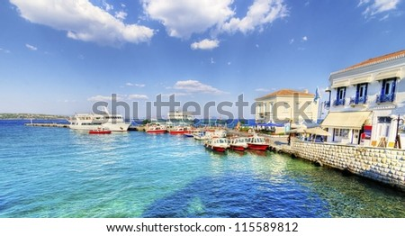 A view of the port of the beautiful Greek Island, Spetses - stock photo