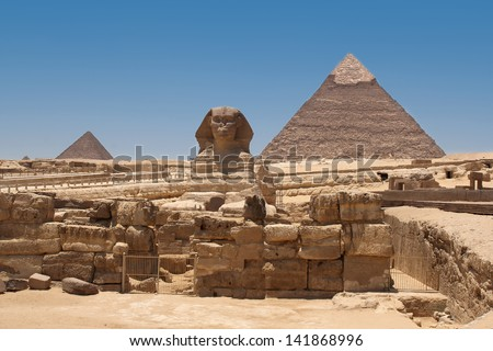 A view of the Pyramid of Khafre from the Sphinx- Giza, Egypt - stock photo