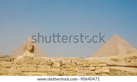 A view of the pyramids at Giza, Egypt