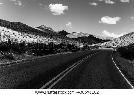 A view of the Ross Maxwell Scenic Drive in Big Bend National Park near the Mexico USA border - stock photo