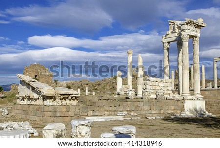A view of the ruins of Trajan temple in the ancient city of Pergamon in Turkey ..