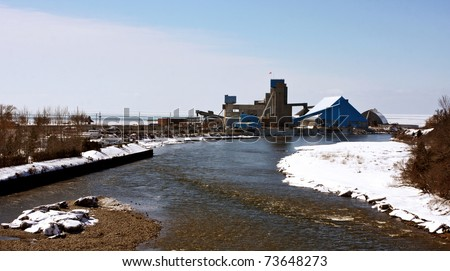 a view of the salt mines in Goderich, Ontario - stock photo