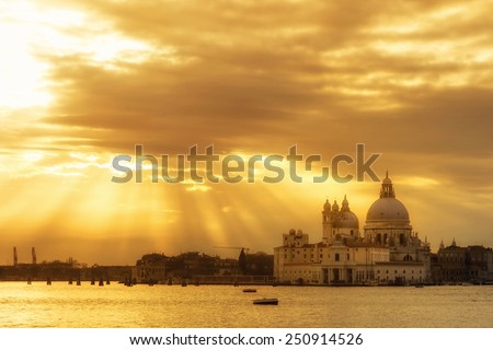 A view of the Santa Maria della Salute church at sunset in Venice,Italy. - stock photo
