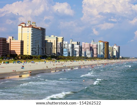 A view of the shore line from Myrtle Beach, South Carolina - stock photo