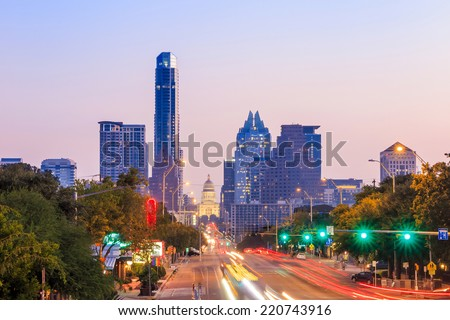 A View of the Skyline Austin, Texas at twilight - stock photo