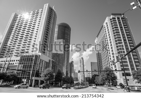 A view of the skyline of Buckhead, the uptown section of Atlanta, Georgia in Black and white - stock photo