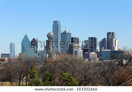 A view of the skyline of Dallas, Texas. - stock photo