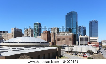 A view of the skyline of downtown Fort Worth, Texas. - stock photo