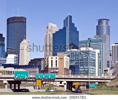 A view of the skyline of downtown Minneapolis Minnesota - stock photo