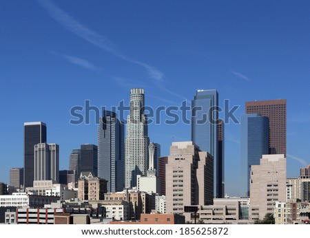 A view of the skyline of Los Angeles, California. - stock photo