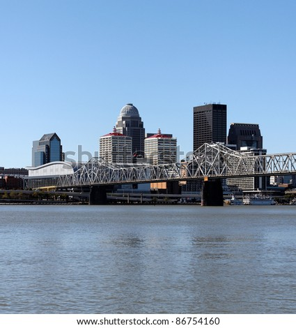 A view of the skyline of Louisville, Kentucky, from across the Ohio River. - stock photo