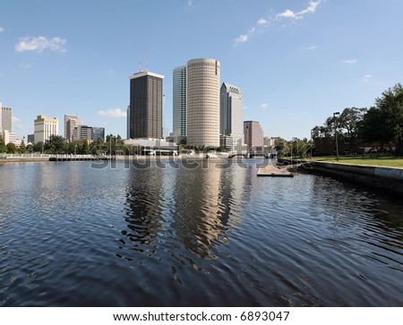 A view of the skyline of Tampa Florida - stock photo