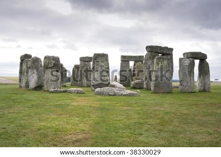 A view of the Stonehenge megalithic monument in Salisbury, England