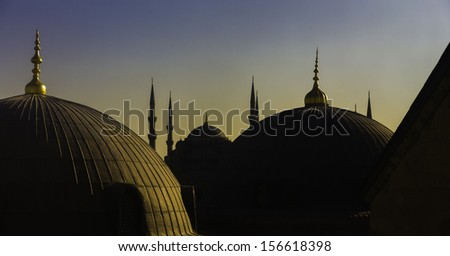A view of the Sultan Ahmed Mosque from the Hagia Sophia Mosque, Istanbul, Turkey. The Sultan Ahmed Mosque in Istanbul. The mosque is popularly known as the Blue Mosque  / Sultan Ahmed Mosque