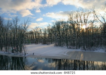 A view of the Thornapple River in Winter - stock photo
