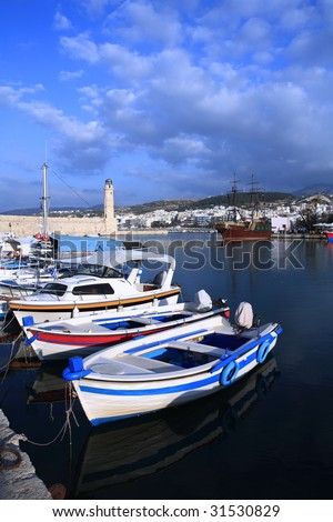A view of the Venetian era harbour at Rethymnon, on the north coast of Crete, in the late afternoon.